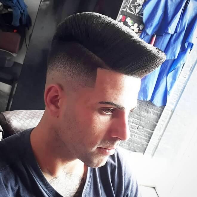 Pompadour Quiff with Sharp Fade