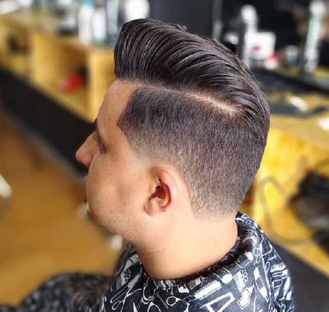 Pompadour with Low Taper Fade