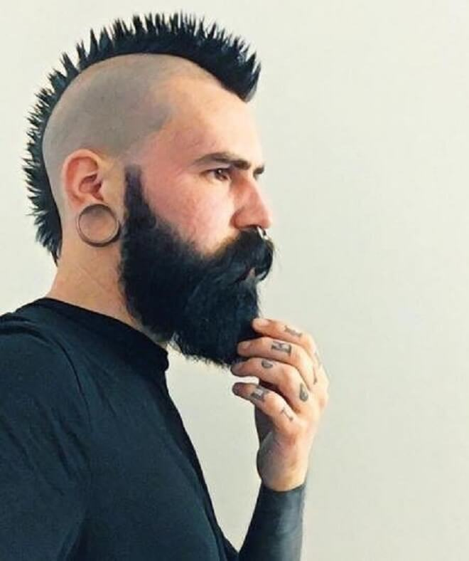Punk Hairstyle with Beard Style