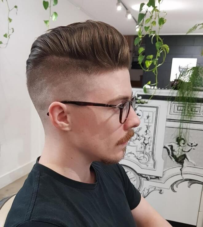 Quiff Hairstyle with Hard Part