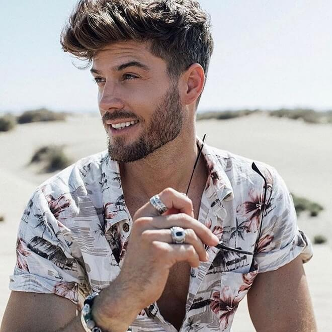 Quiff Hairstyle with Stubble Beard