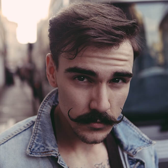 Separated Handlebar Mustache