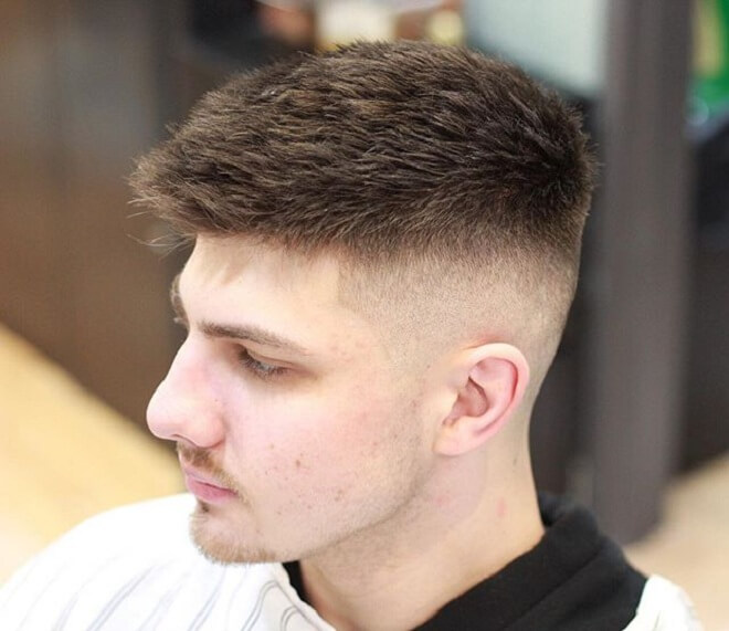 Short Haircut with Bald Fade