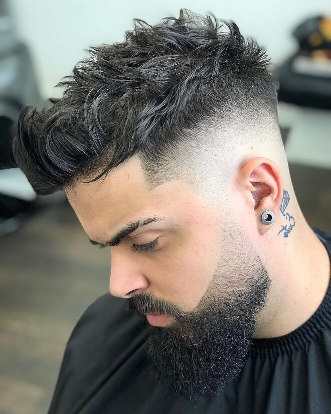 Short Messy Quiff with High Skin Fade
