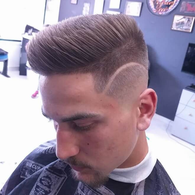 Side Part Haircut Design with Spiky Hair