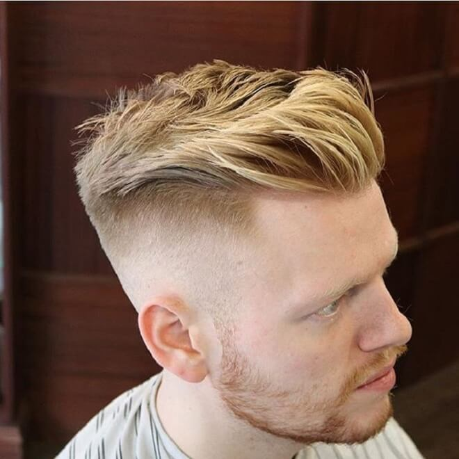 Side Part Haircut with Blonde Hair