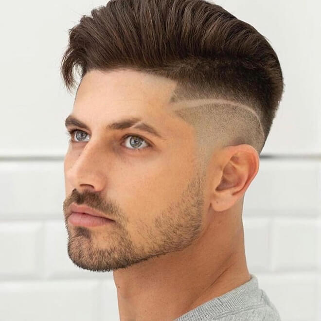 Side Part Haircut with Circle Beard