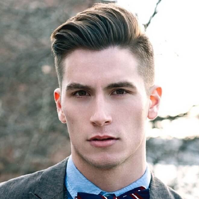 Side Part Haircut with Modern Pompadour