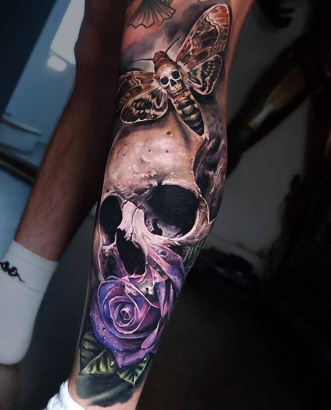Skull on Leg Tattoos