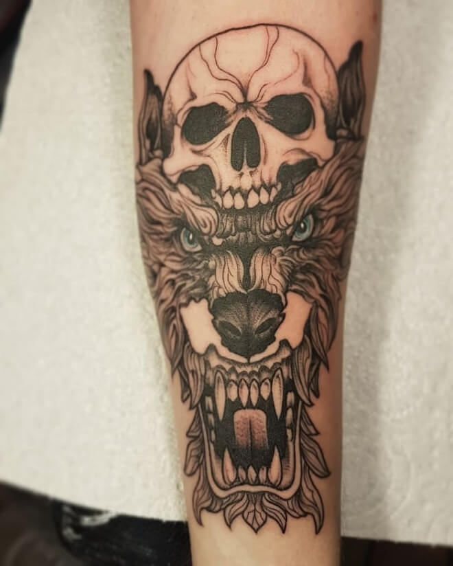 Skull with Wolf Tattoo