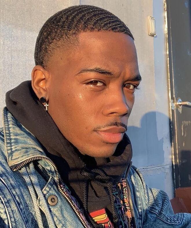 Taper Haircut Black Men Waves 90