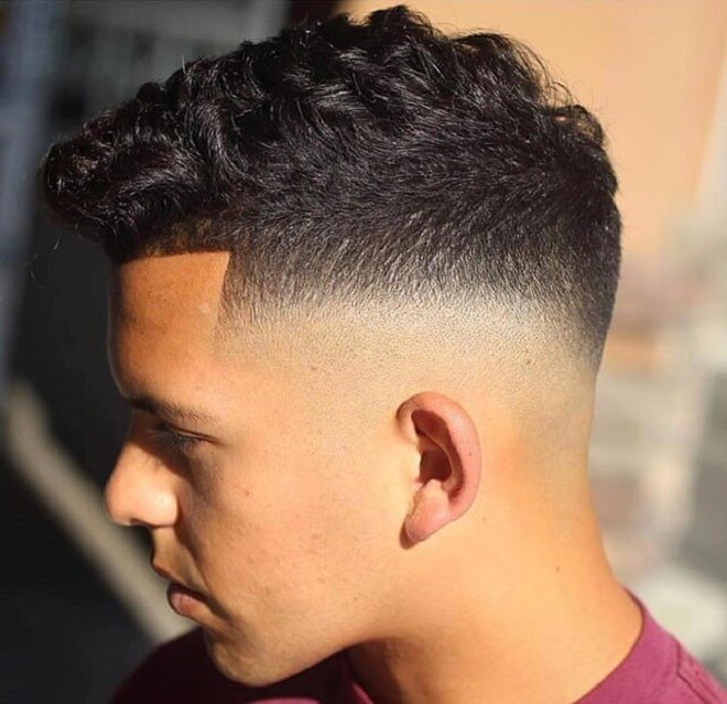 Bald Fade with Short Curly On Top