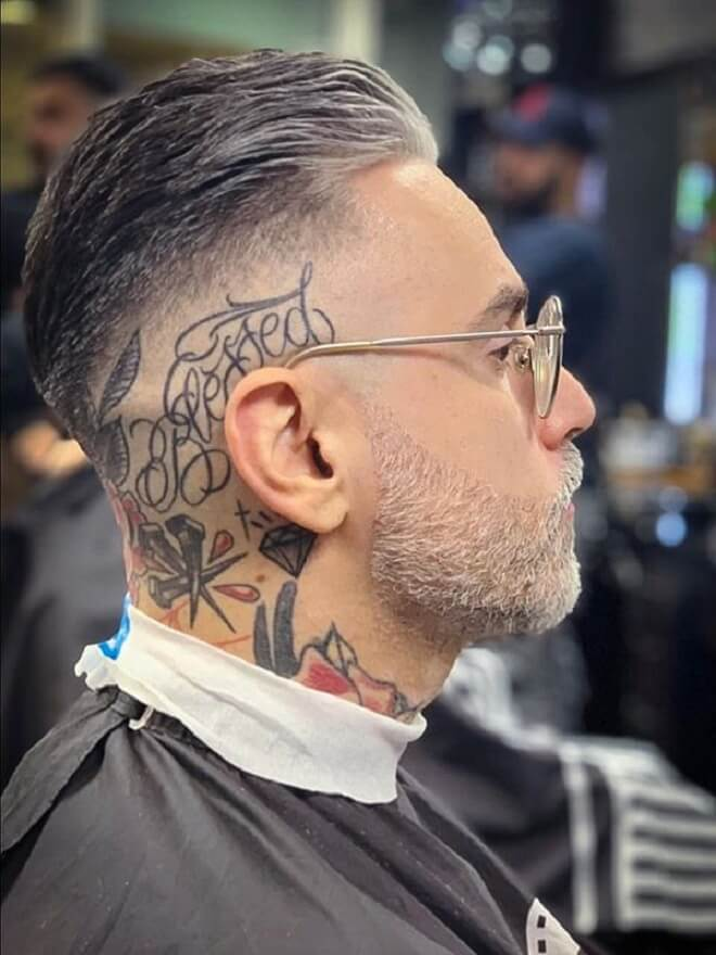 Bald Fade with Swept Back