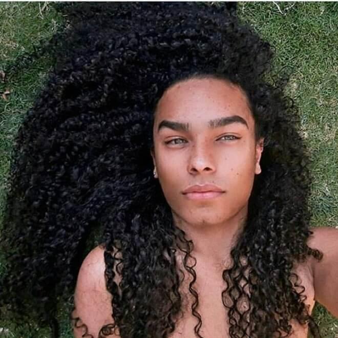 Black Man Long Curly Hair