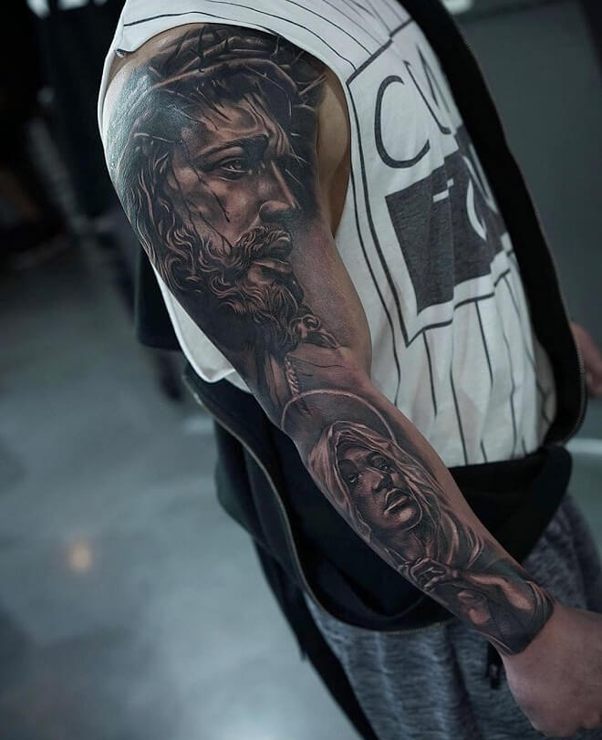Black and Grey Sleeve Tattoo
