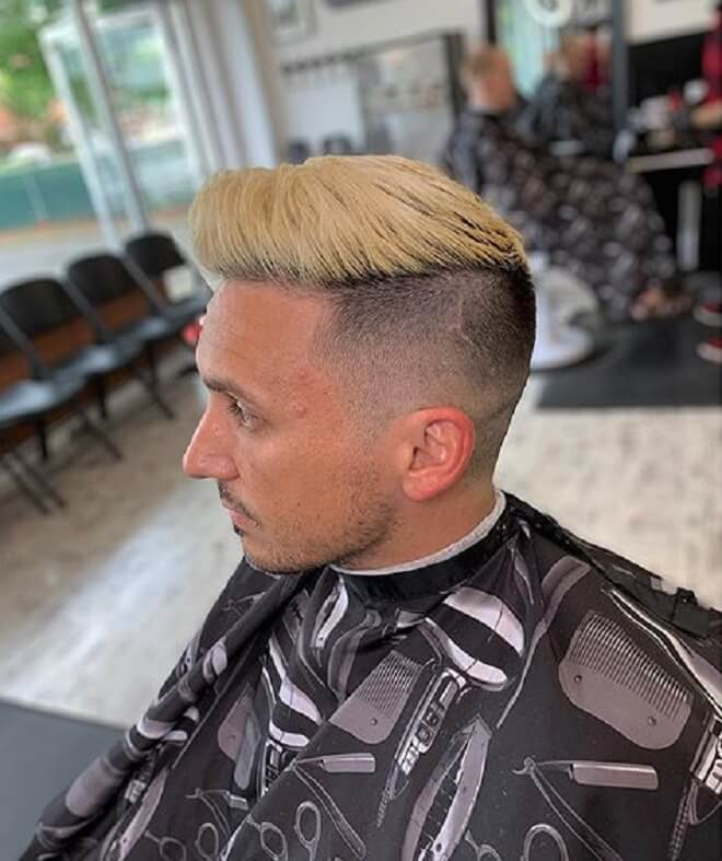 Blonde Quiff Hair with Shave Side