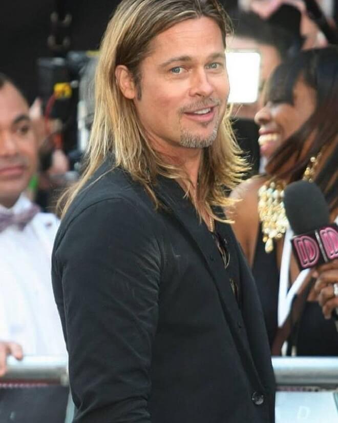 Brad Pitt Shoulder Length Hairstyle