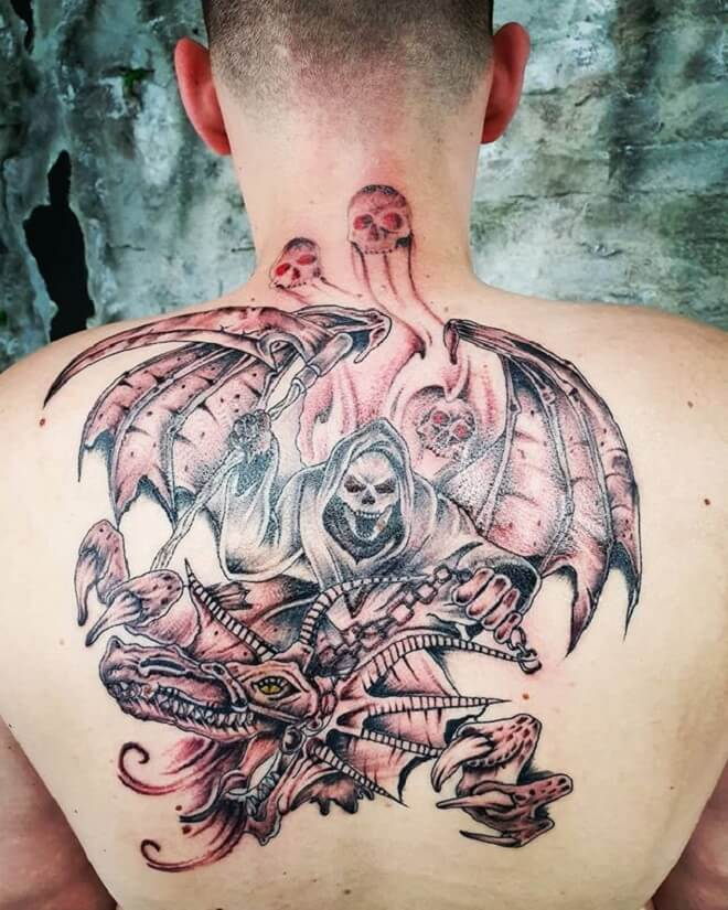 Dragon with Skull Tattoo