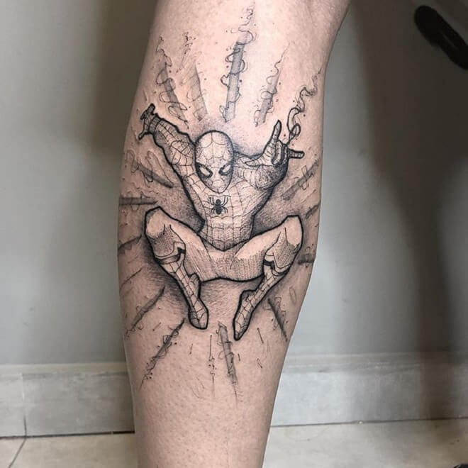 Flying Spiderman Tattoo