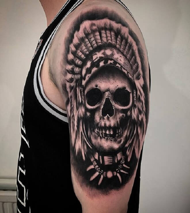 Half Sleeve Skull Tattoo