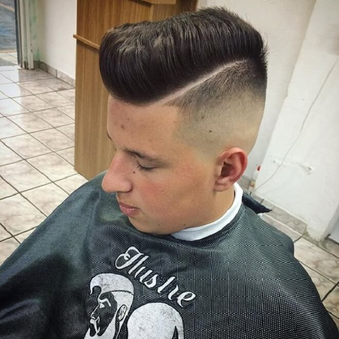 Hard Part Haircut with Pompadour