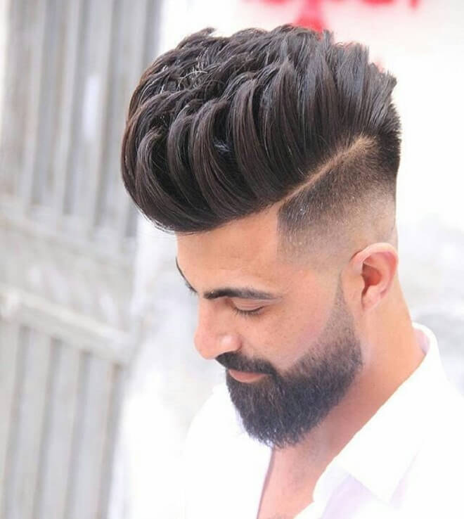 Hard Part with High Top Hair