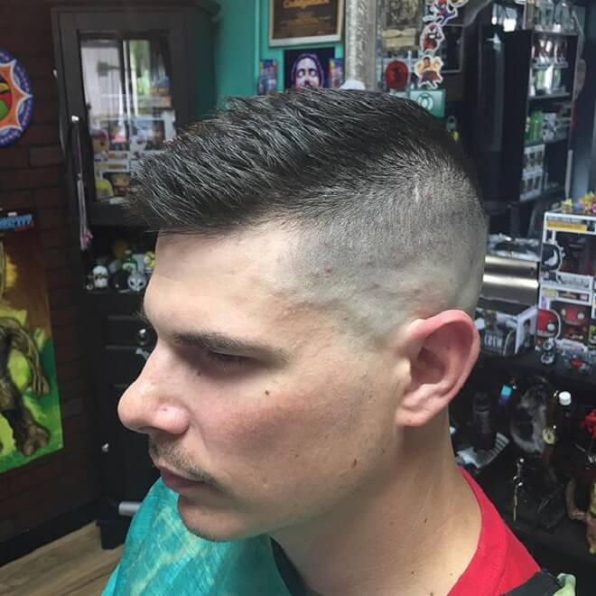 High Bald Fade with Short Hair