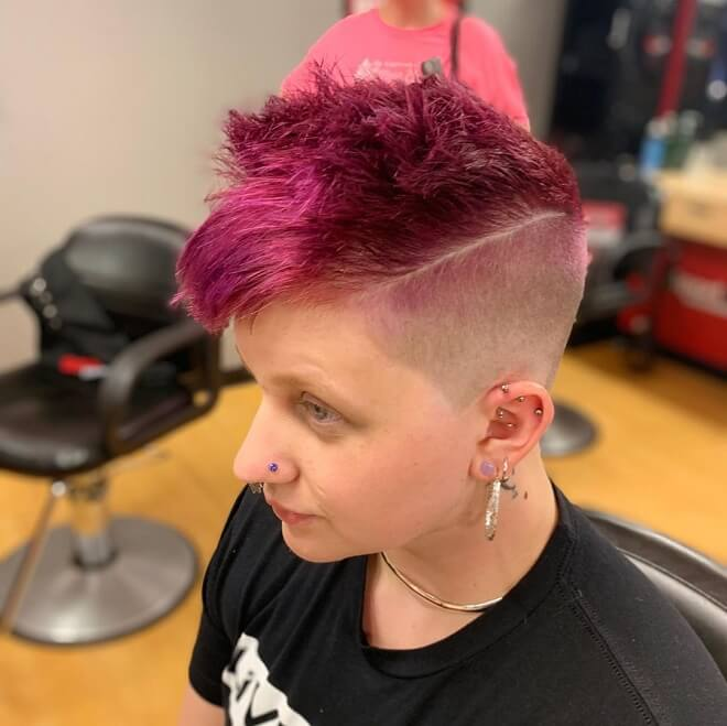 High Fade with Pink Hair