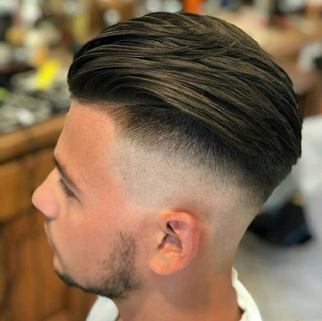 High Fade with Swept Back