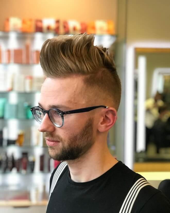High Quiff Hairstyle with Blonde Hair