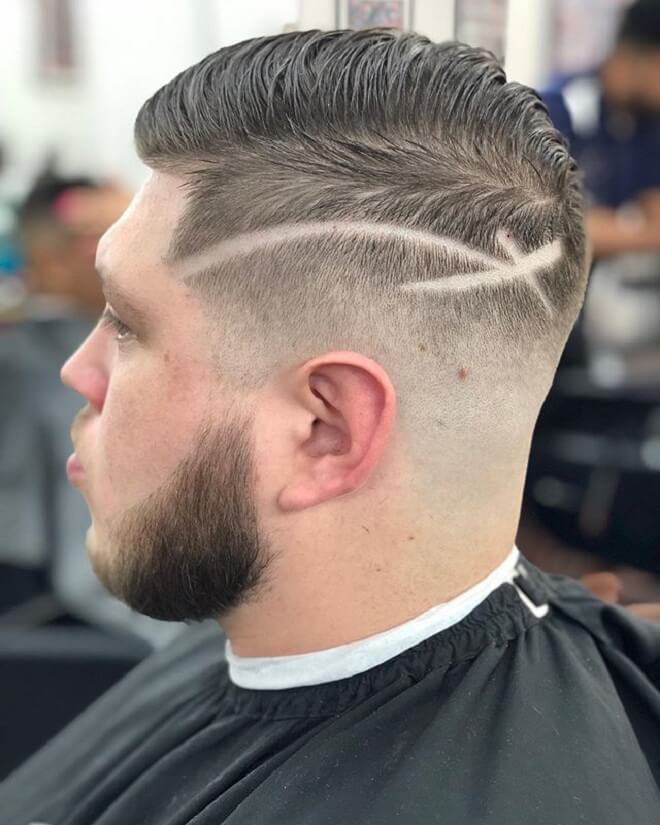High Skin Fade Haircut with Line Design