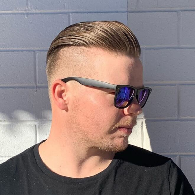 High Skin Fade with Swept Back Hair