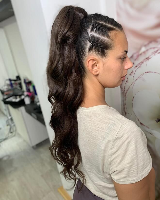 High Sleek Ponytail with Braids