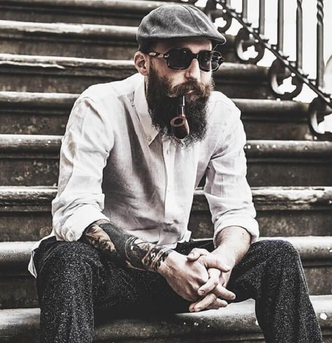 Hipster Moustache with Full Beard