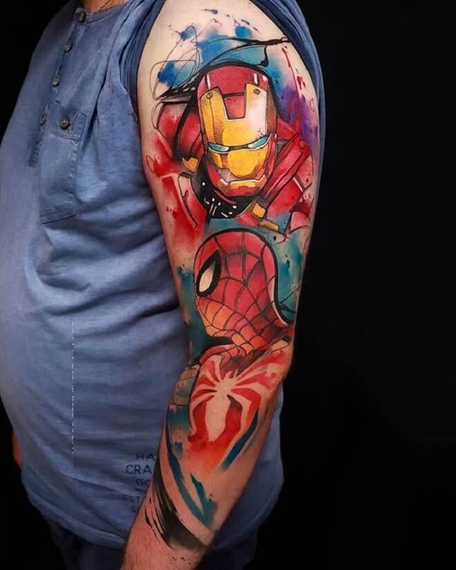 Ironman and Spiderman Tattoo