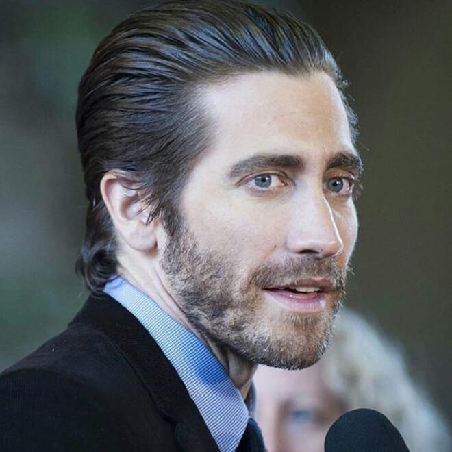 Jake Gyllenhaal Swept Back Hairstyle