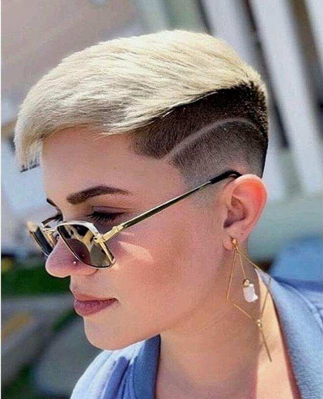 Line Haircut with Short Blonde Hair