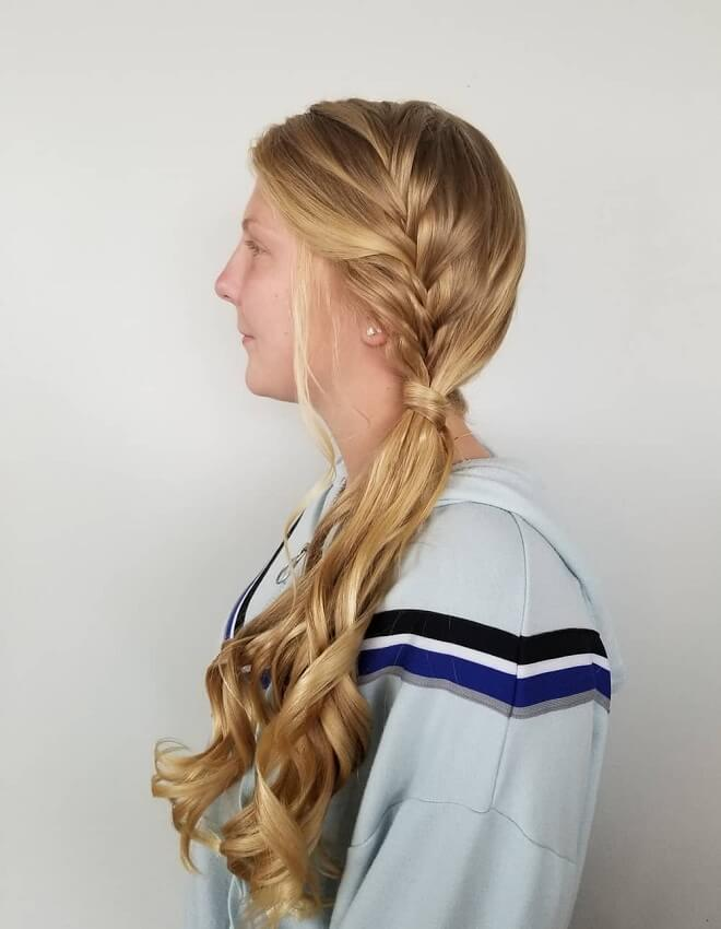 Long French Braid Ponytail with Blonde Hair