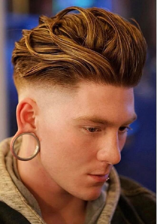Low Bald Fade with Thick Layered Slicked Back
