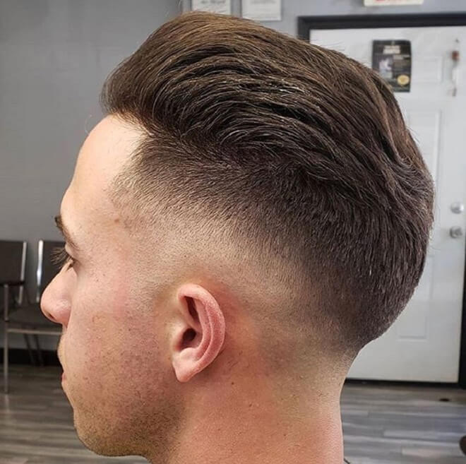Low Bald Haircut with Slicked Back