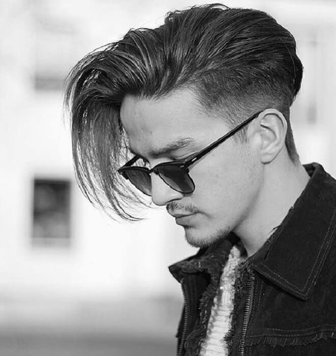 Low Fade with Long Side Swept Hairstyle