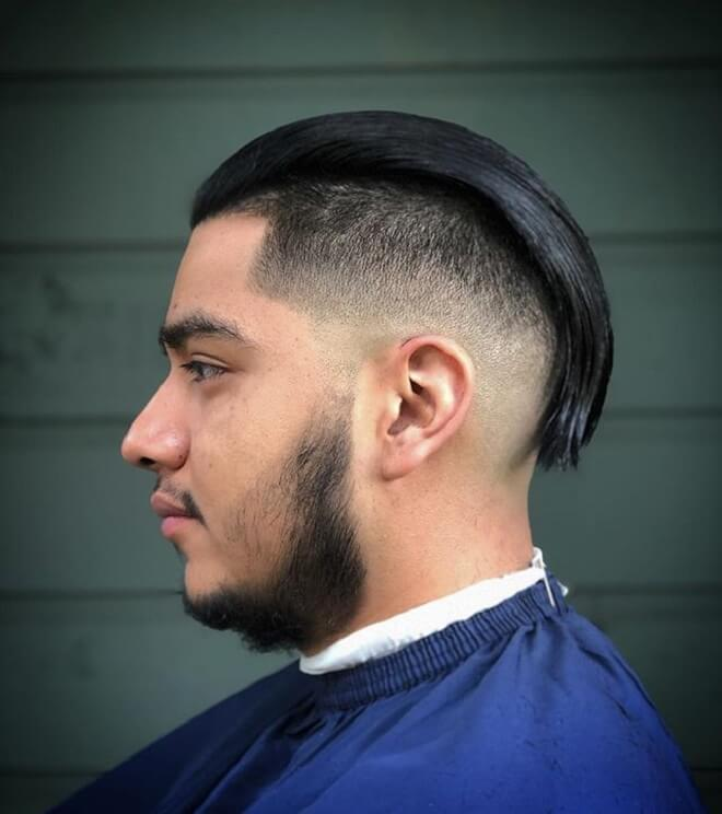 Low Fade with Long Slicked Back