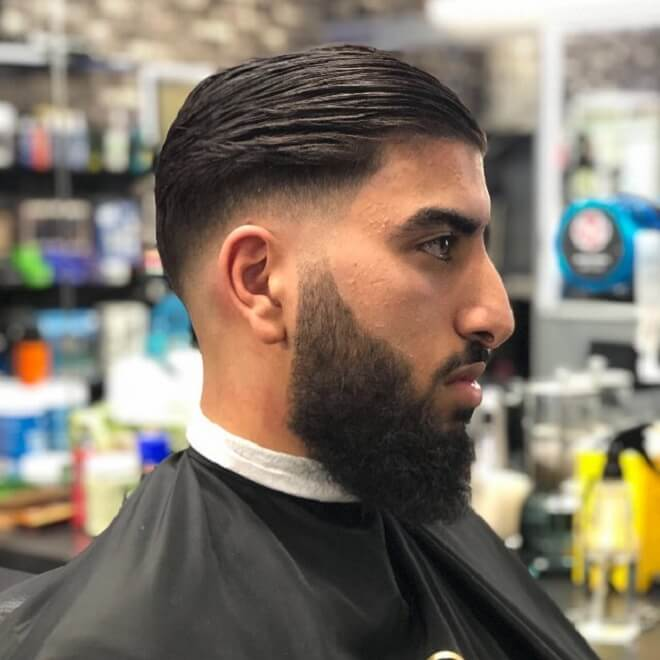 Low Fade with Slick Back