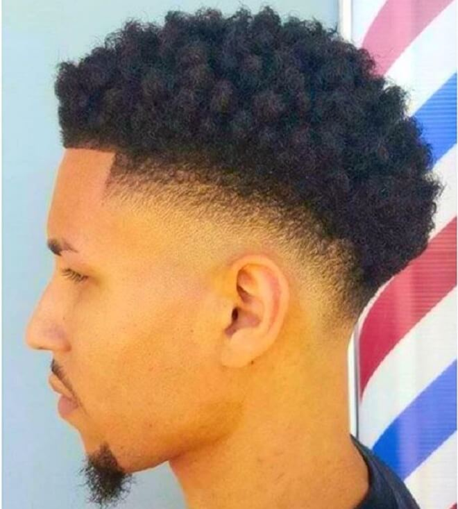 Low Fade with Top Short Curls