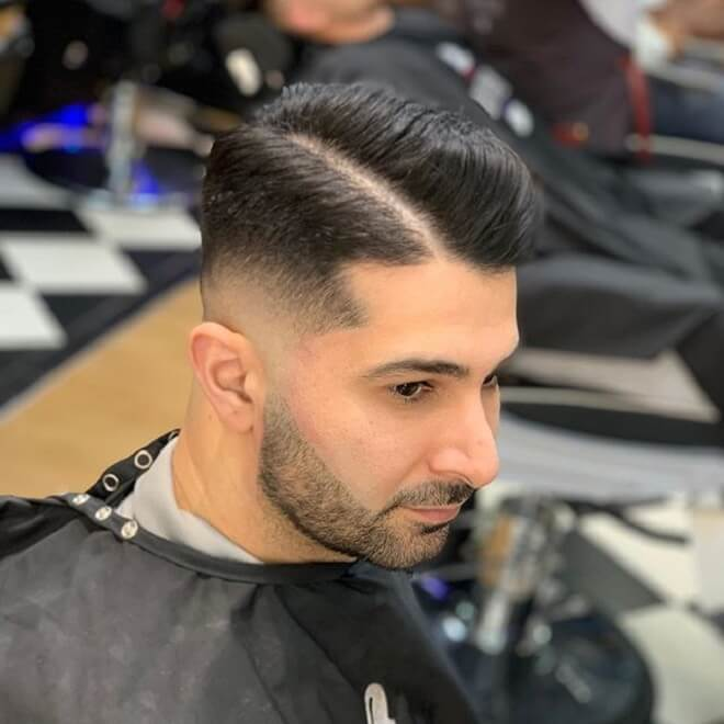 Low Skin Fade with Side Part Haircut