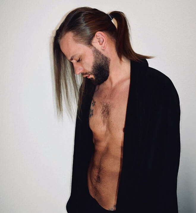 Male Long Hair Ponytail