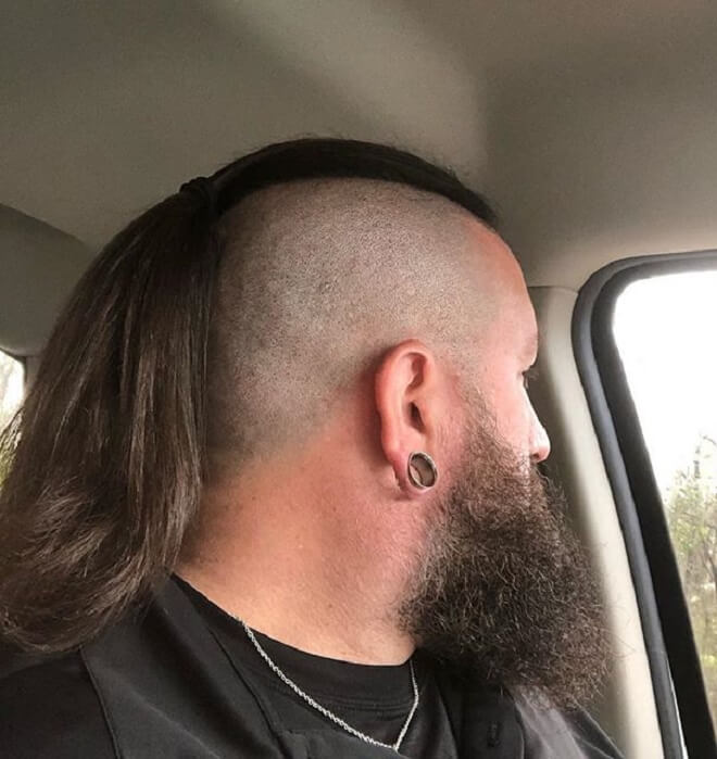 Male Ponytail with Shaved Side