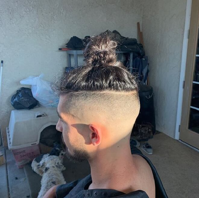 Man Bun with Shaved Sides