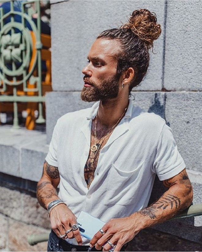 Man Curly Bun with Beard Style