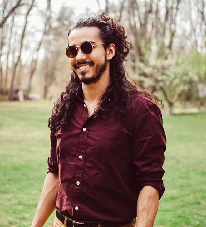 Men Long Curly Ponytail